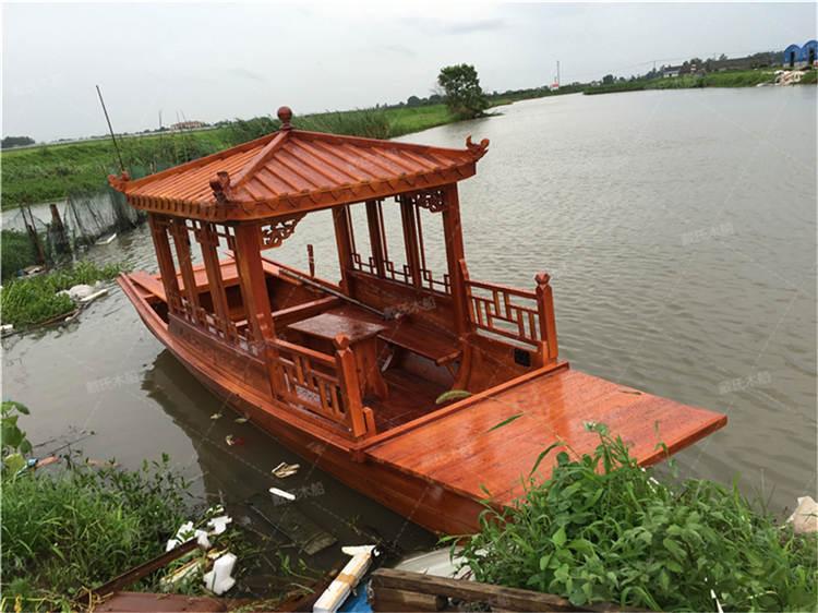 江门景区电动手划木船 戴氏手划木船现货销售